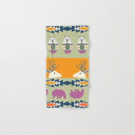 Colorful Christmas pattern with deer and bears Hand & Bath Towel