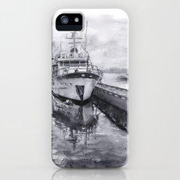 Kirkland Marina Waterfront Boat Watercolor Seattle iPhone Case