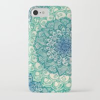 navy iPhone & iPod Cases featuring Emerald Doodle by micklyn