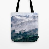 vietnam Tote Bags featuring Foggy Mountain of Sa Pa in VIETNAM by CAPTAINSILVA