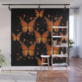 ORANGE MONARCH BUTTERFLIES BLACK MONTAGE Wall Mural