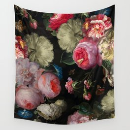 Vintage & Shabby Chic - Midnight Dutch Botanical Flower Garden Wall Tapestry
