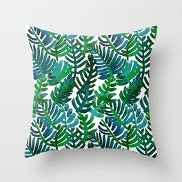 Round Palm Blue Green Throw Pillow