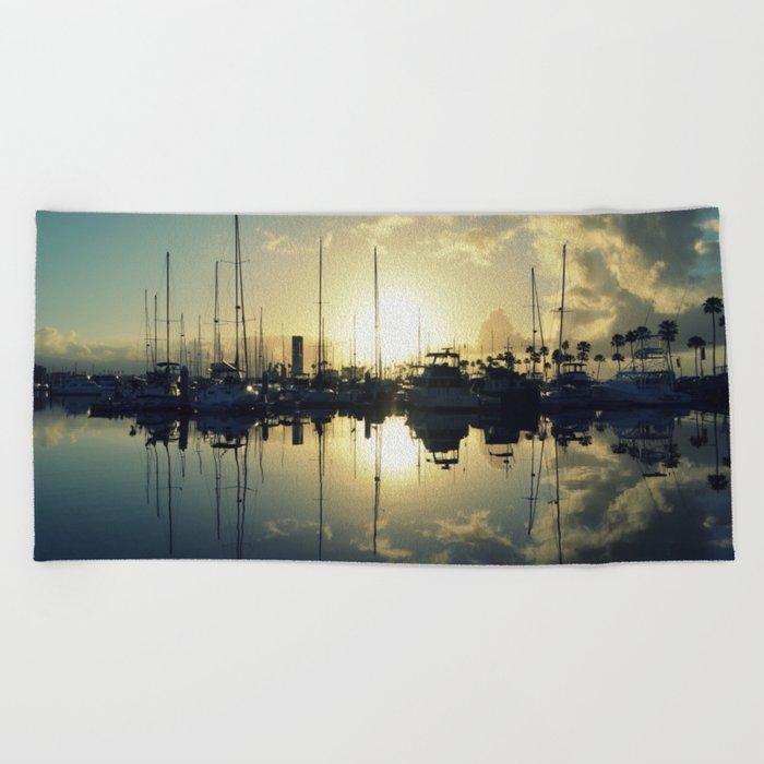 marina morning Beach Towel