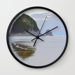 Illustrated Haystack Rock Wall Clock