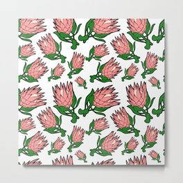 Lovely Pink Australian Native Floral Pattern - King Protea Metal Print