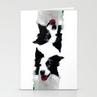 border collie Stationery Cards featuring Border Collie by Albert Tjandra