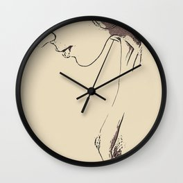 The Magnificent View - sexy girl erotic nude, naughty woman topless, kinky girls profile shot Wall Clock
