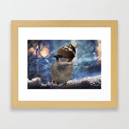 WINTER SPARROW Framed Art Print