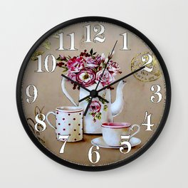 014 Wall Clock Cups and Flowers Wall Clock