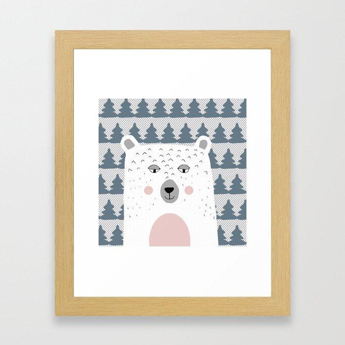 Bear in the  blue woods Framed Art Print