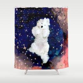A Floof in a Sea of Stars - fluffy floofy Coton de Tulear puppy Shower Curtain