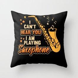 Saxophone Jazz Music Brass Musical Gift Throw Pillow