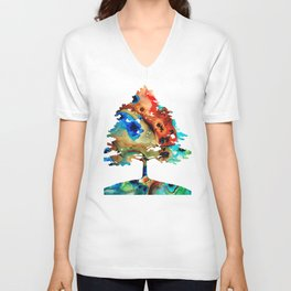 All Seasons Tree 3 - Colorful Landscape Print Unisex V-Neck