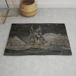 Anubis on Egyptian pyramids landscape Rug