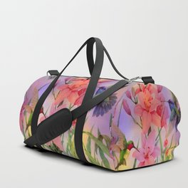 Painterly Hummingbirds And Flowers Duffle Bag