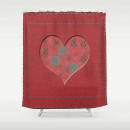 Heartful with flowers - red Shower Curtain
