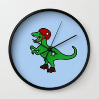 roller derby Wall Clocks featuring Roller Derby Velociraptor by Jez Kemp