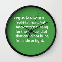 vegetarian Wall Clocks featuring Vegetarian definition dictionairy by Laundry Factory