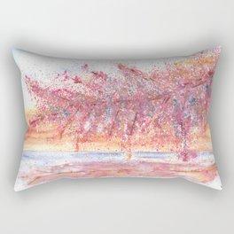 Pink Abstract Landscape Illustration Rectangular Pillow