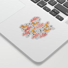 Yellow Llamas Red Cacti Sticker