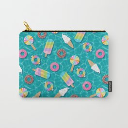 Sweet Treats Pool Floats Pattern – Turquoise Carry-All Pouch