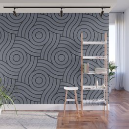 Circle Swirl Pattern Grayish Blue Inspired By VA Hazy Blue, Seattle Haze Blue Gray, Twinkle Twinkle Wall Mural