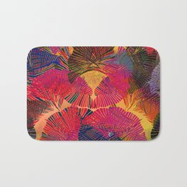 Rainbow background. Gingko biloba leaves. Hand painted Pattern. Bath Mat