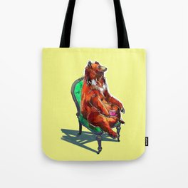 animals in chairs #20 The Bear at Tea Tote Bag