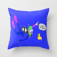 yellow submarine Throw Pillows featuring underneath the yellow submarine by Davey Charles