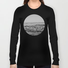 Black and White Pacific Ocean Waves Long Sleeve T-shirt