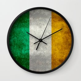 Republic of Ireland Flag, Vintage grungy Wall Clock