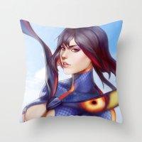 kill la kill Throw Pillows featuring Kill la Kill: Ryuko Matoi by WeijiC