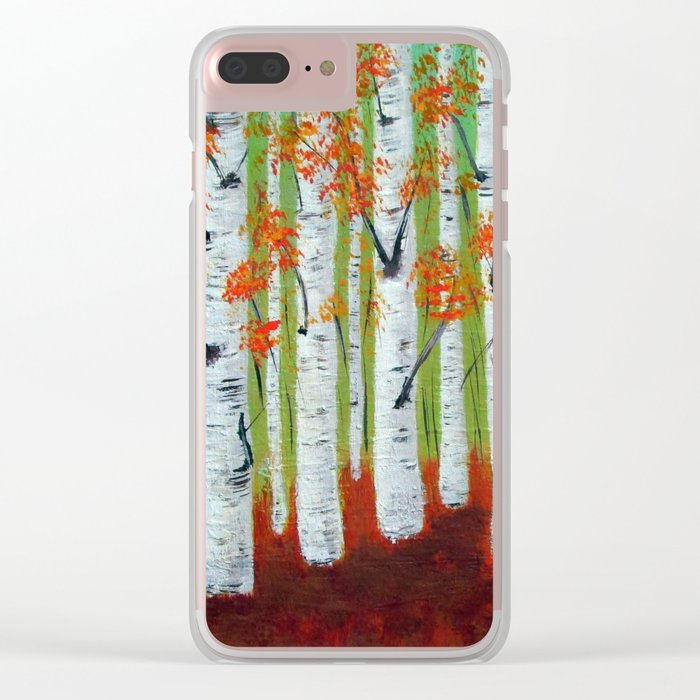Atumn Birch trees - 5 Clear iPhone Case