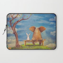 Elephant and rabbit sit on a bench on the glade Laptop Sleeve