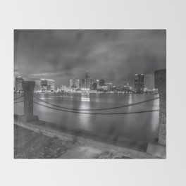 Norfolk Skyline II in Black and White Throw Blanket