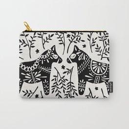 Swedish Dala Horses – Black Palette Carry-All Pouch