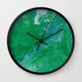 Turquoise & Blue Painted Marble Wall Clock