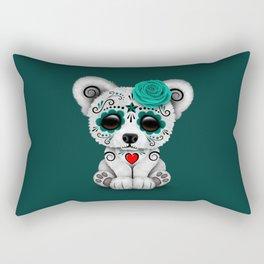 Teal Blue Day of the Dead Sugar Skull Polar Bear Rectangular Pillow