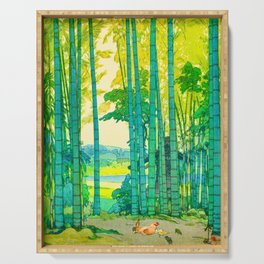Yoshida Hiroshi Bamboo Grove Vintage Japanese Woodblock Print Bright Green Bamboo Landscape Forest Serving Tray