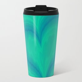 Abstract Blue Green Heart Wave Pattern | Valentine's Day Travel Mug