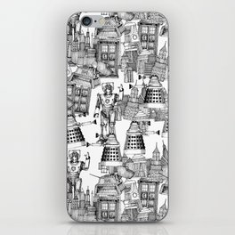 Doctor Who Toile de Jouy | 'Walking Doodle' | Black iPhone Skin