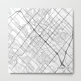 Brampton Map, Canada - Black and White Metal Print