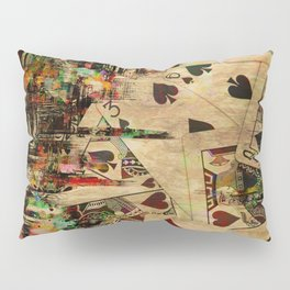 Abstract Vintage Playing cards  Digital Art Pillow Sham