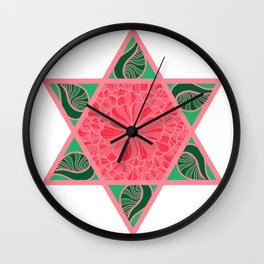 Floral Star of David Wall Clock