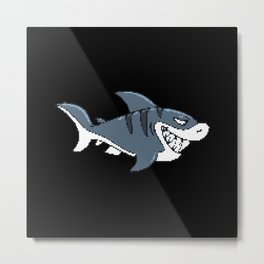 Shark In Pixel Art Style For Children Metal Print