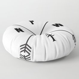 PNW Pacific Northwest Compass - Black on White Minimal Floor Pillow