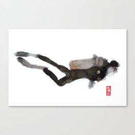 Scuba Diver Watered Down Canvas Print