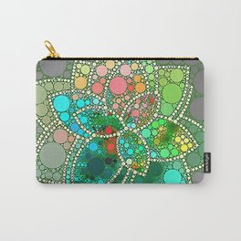 Bubble Green Abstract Flower Design Carry-All Pouch