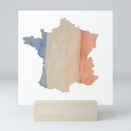 France Outlne with Tri-color Flag in Watercolors Mini Art Print